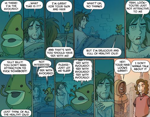 For the record: I was the avocado. (Via the very NSFW-yet-wonderful Oglaf)