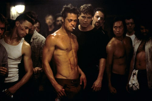 Brad Pitt as Tyler Durden, shirtless and smoking a cigarette