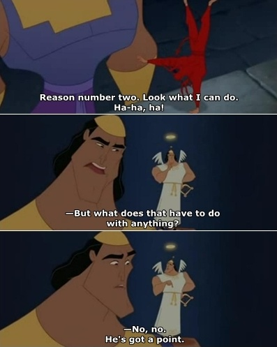 Kronk from The Emperor's New Groove addressing his angel and demon selves