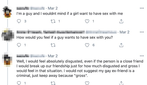 """Screen shot of three tweets. First says: I'm a guy and I wouldnt mind if a girl want to have sex with me. Second says: How would you feel if a guy wants to have sex with you? Third tweet: Well, I would feel absolutely disgusted, even if the person is a close friend I would break up our friendship just for how much disgusted and gross I would feel in that situation. I would not suggest my gay ex-friend is a criminal, just keep away because """"gross""""."""