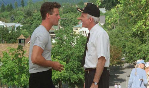 Rick Rossovich and Steve Martin in the movie Roxanne