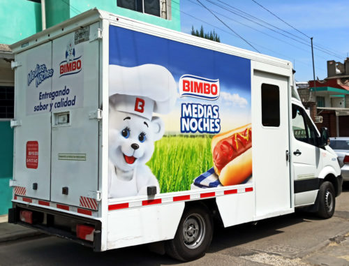 A Bimbo baked goods delivery truck