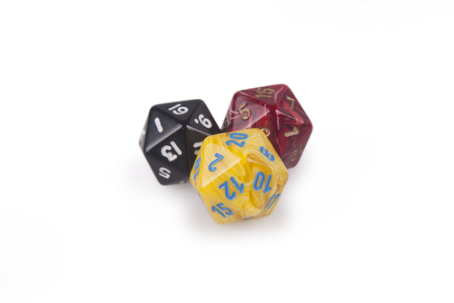three twenty-sided dice, with 20, 19 and 1 facing up