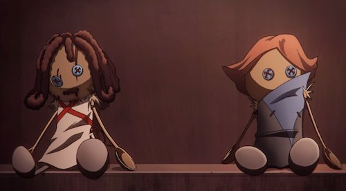screen-shot of shoddy hand-crafted dolls of Trevor Belmont and Syfa