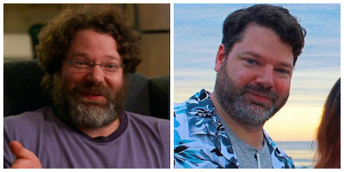A before and after photo of William from Queer Eye