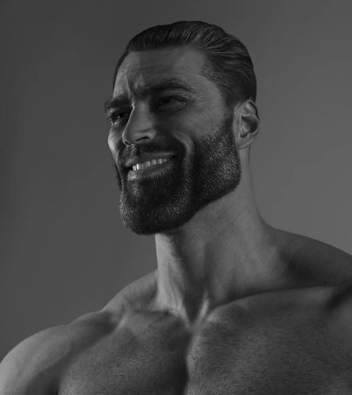 monchrome image of muscular man with a comically large jaw