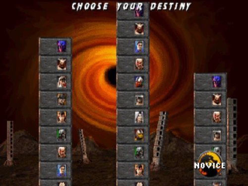 screenshot of the stage selection screen of Mortal Kombat 3