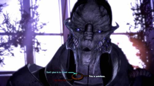 a screenshot from Mass Effect: Legendary Edition featuring Saren from Mass Effect 1