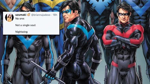 A collage of illustrations of Nightwing by Nicola Scott.