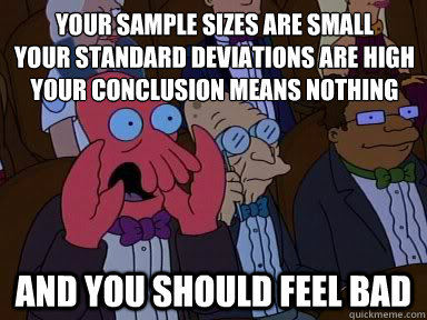 """Zoidberg yelling meme. Text reads """"Your sample sizes are small, your standard deviations are high, your conclusion means nothing and you should feel bad"""""""