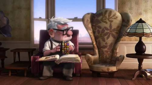 """Still from Pixar's """"Up""""; Carl Fredrickson looking at his wife's empty chair"""