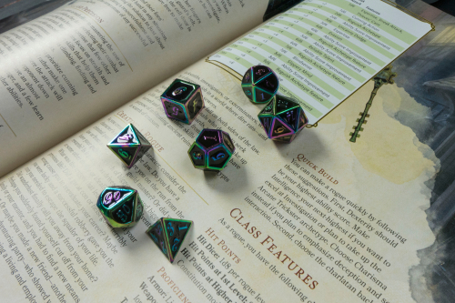 A 5th Edition Dungeons and Dragons Player's Handbook with polyhedral dice on it